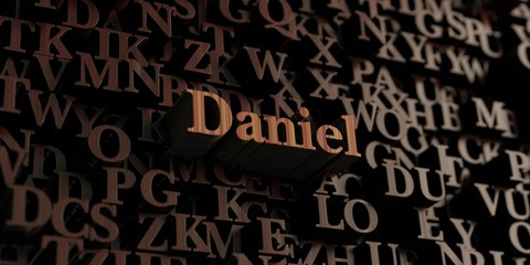 Daniel - Wooden 3D rendered letters/message.  Can be used for an online banner ad or a print postcard. Wall mural