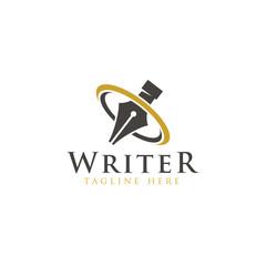 Writer logo creative design vector template