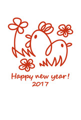 New years card abstract chicken & chick