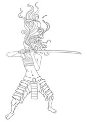 samurai girl with katana