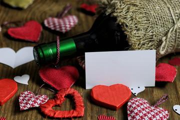 table wine love heart shape