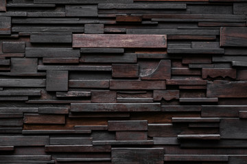 Layers of Dark Wood plank wall, hardwood wall pattern texture background
