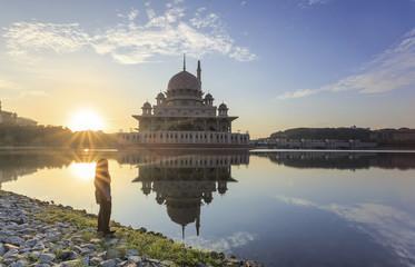 Malaysia travel - Putrajaya Mosque with Muslimah pray in Malaysi