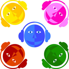 DJ colored faces. Man in the headphones. White background.