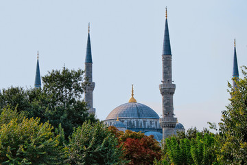 Minarets of Blue Mosque in Istanbul