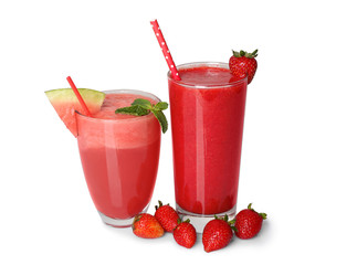 Strawberry and watermelon smoothies on white background