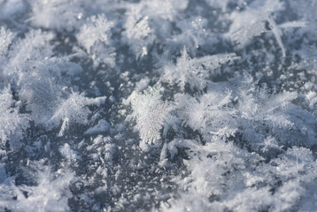 Winter hoarfrost, ice and snow, xmas background