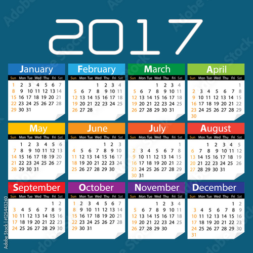 "017 colored calendar with blue background vector"" Stock image and ..."