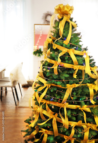 "Christmas Tree In Living Room beautiful decorated christmas tree in living room"" stock photo and"