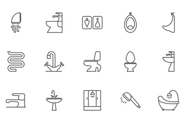 Sanitary engineering vector thin line related icon set for web and mobile applications. It can be used as - logo, pictogram, icon, infographic element. Editable Stroke. 64x64 Pixel.