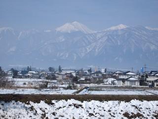 冬の安曇野 北アルプスの山