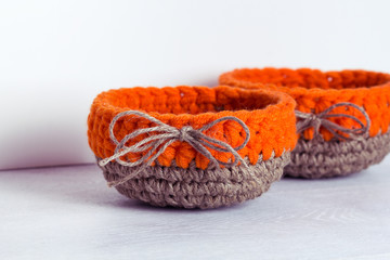 crochet orange baskets