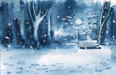 Winter landscape. Evening Park. Watercolor illustration. Greeting card.