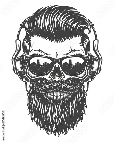 U0026quot;Monochrome Illustration Of Skull With Beard Mustache Hipster Haircut Sunglasses With Big ...