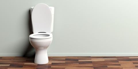 White toilet bowl, copy space. 3d illustration
