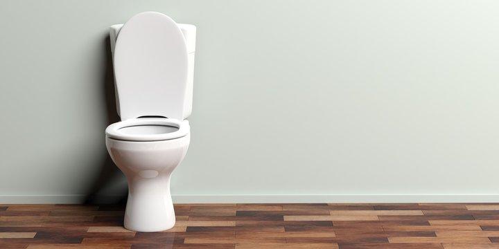 White toilet bowl, copy space. 3d illustration