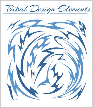 Set of Tribal Elements on a white background