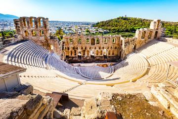 Spoed Fotobehang Athene Ancient Amphitheater of Acropolis of Athens, landmark of Greece