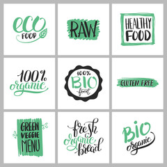 healthy food sticker set with handwritten inscription for produc