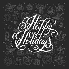 happy holidays lettering inscription handwritten design