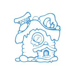 vector hand drawn christmas or winter house