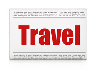 Tourism concept: newspaper headline Travel