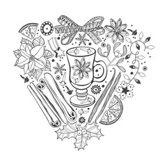 Christmas heart. Vector illustration of a traditional festive elements.