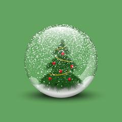 Realistic Christmas snow globe with christmas tree