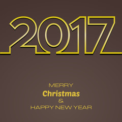 Happy New Year 2017 Background. New Year and Xmas Design Element Template. Vector Illustration.