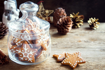 Wall Murals Christmas Christmas cookies in glass jar