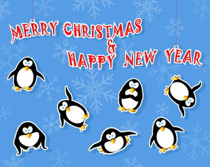 greeting card with penguin and snow