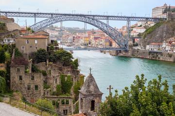 Porto Oporto Dom Luis Bridge Douro river view old romantic ruins church architecture historic downtown