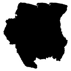 Surinam black map on white background vector