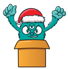 Poster Pirates Christmas Monster in Present Box Cartoon Illustration