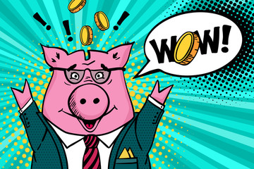 Wow face.Happy piggy bank in a suit and glasses smiles with hands raised, gold coins flying around and wow speech bubble. Vector illustration in pop art retro comic style.