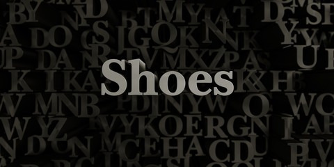 Shoes - Stock image of 3D rendered metallic typeset headline illustration.  Can be used for an online banner ad or a print postcard.