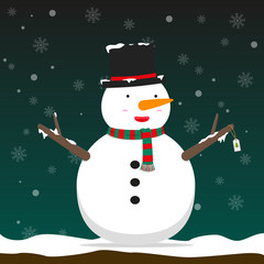 cute big fat snowman wear hat and scarf on falling snow flake green background