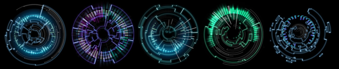 Collection of Futuristic technology wheel on a black background