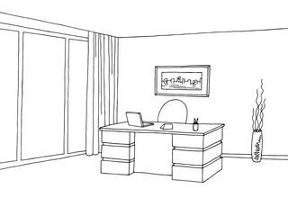 Office room interior graphic black white sketch illustration vector