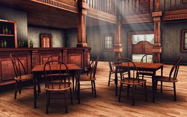 Obraz Wnętrze baru na Dzikim Zachodzie - fototapety do salonu