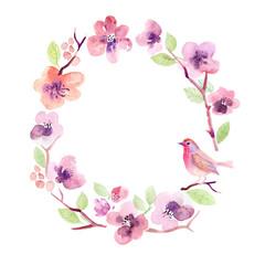 Watercolor floral greeting card. Flowers sakura. Handmade. Vintage background
