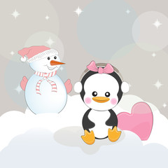 Greeting card cute cartoon snowman and penguin with heart on a gray background