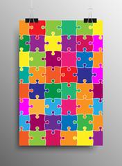 Vertical Poster A4 Puzzle Pieces. Color Puzzles.