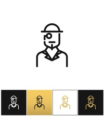 Vintage gentleman logo or retro hat man silhouette vector icon