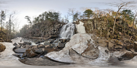 Spherical panorama of waterfall near Vladivostok, Russia. Full 360 by 180 degree in equirectangular projection.