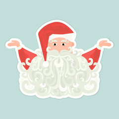 Santa Claus icon with curly beard isolated on blue background.