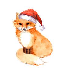 Christmas fox in red santa hat. Watercolor