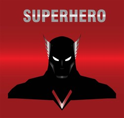 superhero. metallic winged head superhero with the black costume, isolated on the red metallic background. elegant superhero silhouette compose with text. half body of superhero combine with text