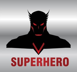 superhero. metallic winged head superhero with the black costume.