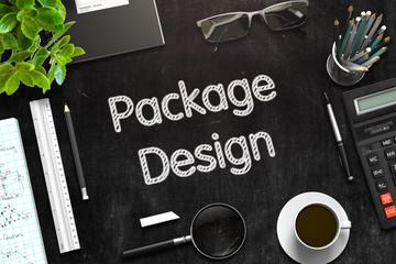 Black Chalkboard with Package Design Concept. 3D Rendering.